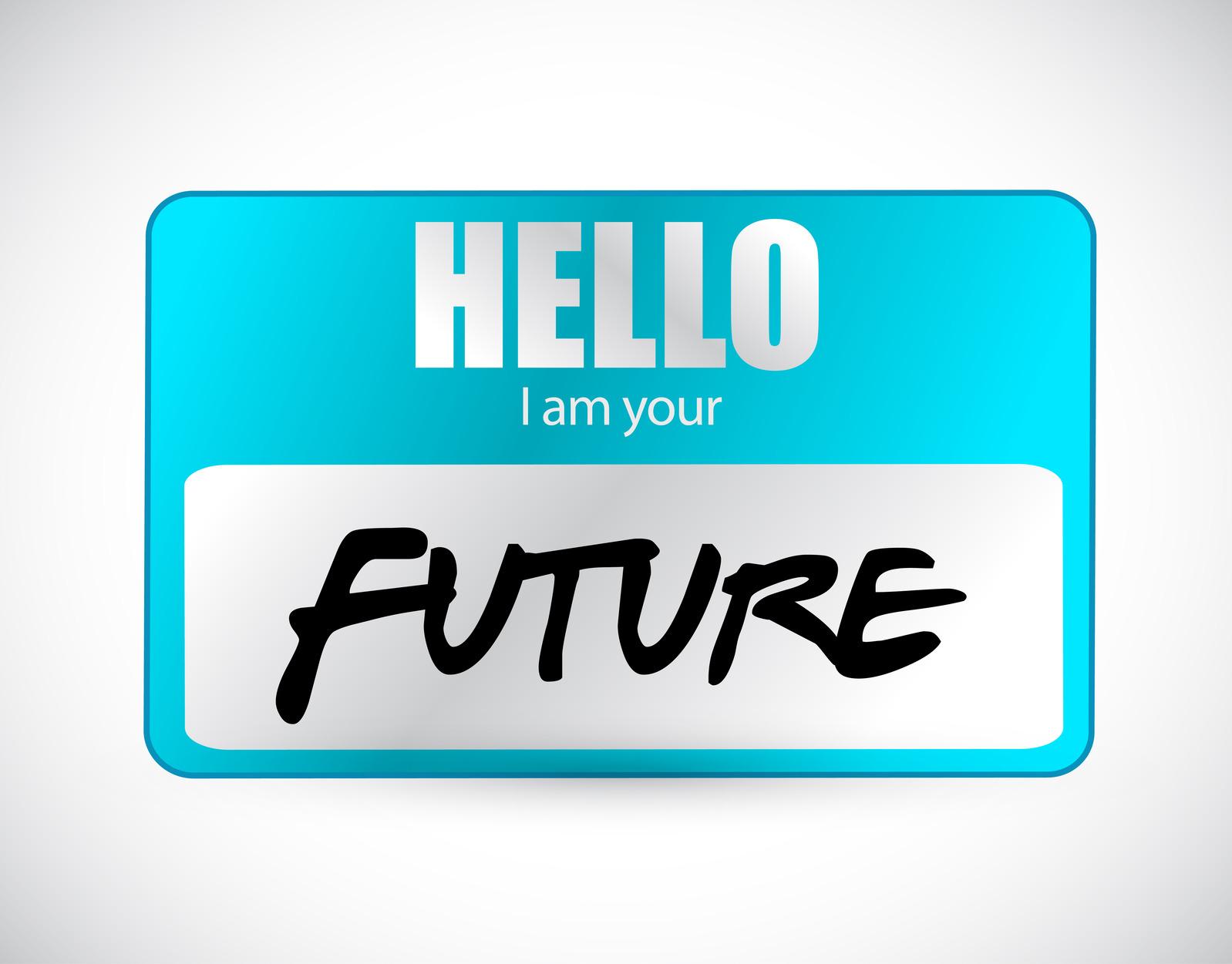 hello im your future name tag illustration design