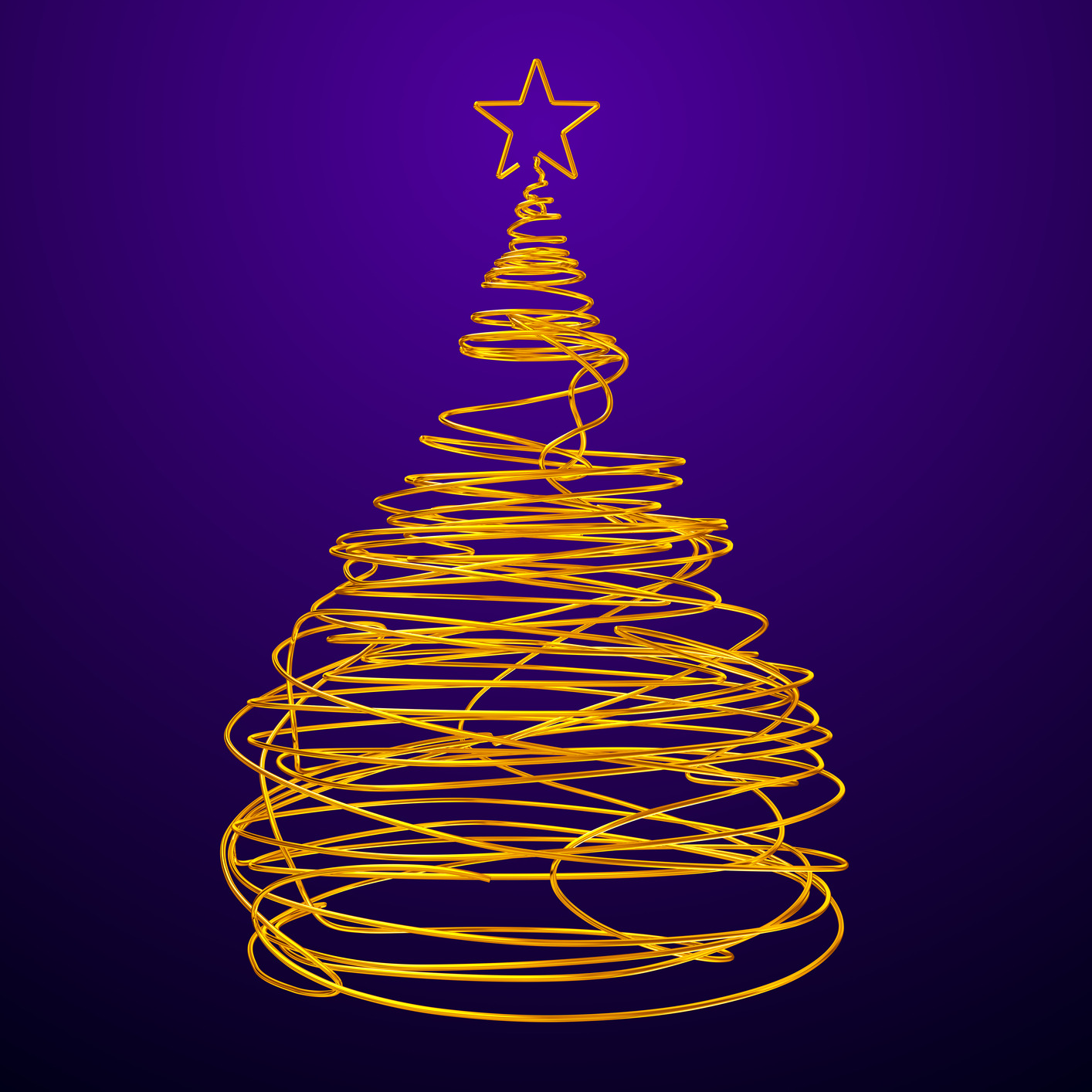 Christmas Tree Made Of Gold Wire. Violet Background. 3D Scene.